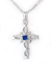 Sterling Silver Ichthus Fish Cross and Birth Crystal Necklace, September Blue