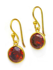 Gold Plated Sterling Silver Sparkling Round Crystal Drop Earrings, Red
