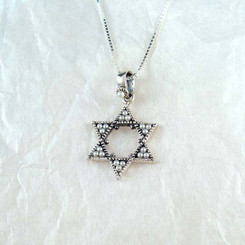 Sterling Silver & Faux Pearl Star of David Necklace