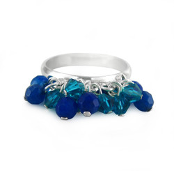 Sterling Silver Crystal Dangling Beads Cluster Band Ring, Blue Combo