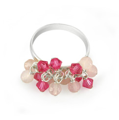 Sterling Silver Crystal Dangling Beads Cluster Band Ring, Pink Combo