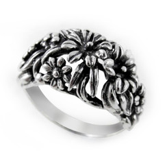 Sterling Silver Flower Garden Dome Ring
