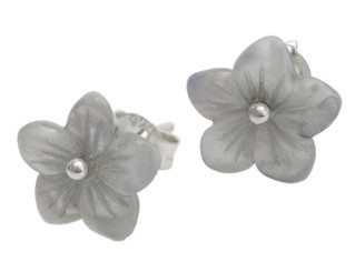 Mother of Pearl Carved Flower Sterling Post Earrings, Gray