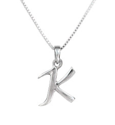 Sterling Silver Initial Charm Necklace, Letter K