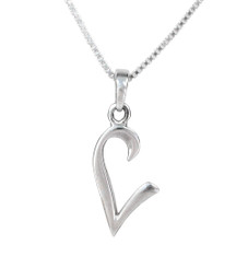 Sterling Silver Initial Charm Necklace, Letter L