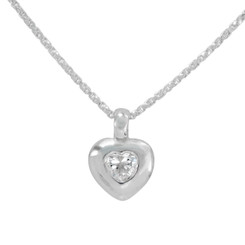Sterling Silver Crystal Heart Pendant Necklace