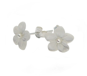 Mother of Pearl Carved Flower Sterling Post Earrings, White
