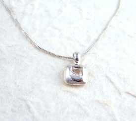 Sterling Silver and Cubic Zirconia Square Charm Necklace