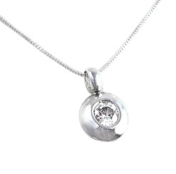 Sterling Silver and Crystal Round Charm Necklace