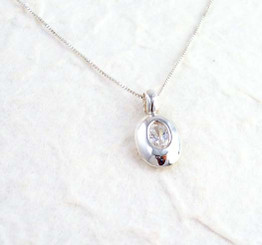 Sterling Silver and Crystal Oval Charm Necklace