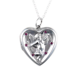 Large Sterling Silver and Ruby Cupid Locket Necklace