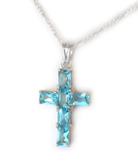 Sterling Silver and Sparkling Crystals Cross Necklace, Aqua