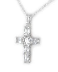 Sterling Silver and Sparkling Crystals Cross Necklace, Clear