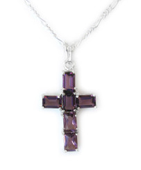 Sterling Silver and Sparkling Crystals Cross Necklace, Purple