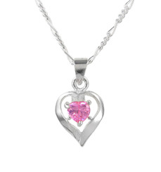 Sterling Silver Heart Solitaire Crystal Necklace, October Pink