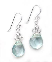"""Sterling Silver """"Crowne"""" Briolette Crystal Drop Earrings, Aqua"""