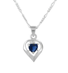 Sterling Silver Heart Solitaire Crystal Necklace, September Blue