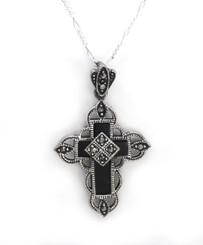 "Sterling Silver Onyx Cross Marcasite Ornate Frame ""Floris"" Necklace, 18"""
