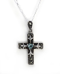 "Sterling Silver Crystal Heart Marcasite Cross ""Damara"" Necklace, 18"" Aqua"