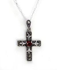 "Sterling Silver Crystal Heart Marcasite Cross ""Damara"" Necklace, 18"" Red"
