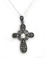 "Sterling Silver Marcasite Cross Simulated Pearl ""Contessa"" Necklace, 18"""