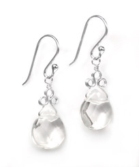 "Sterling Silver ""Crowne"" Briolette Crystal Drop Earrings, Clear"