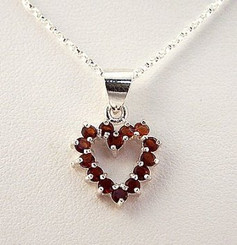 Red Crystal Heart Sterling Silver Necklace