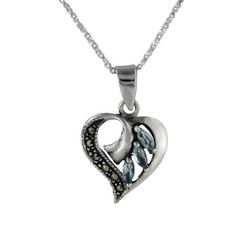 Sterling Silver Birth Crystal Marcasite Heart Pendant Necklace, Aqua