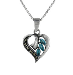 Sterling Silver Birth Crystal Marcasite Heart Pendant Necklace, December Blue