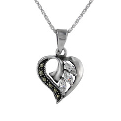 Sterling Silver Birth Crystal Marcasite Heart Pendant Necklace, April Clear