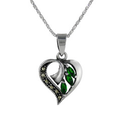 Sterling Silver Birth Crystal Marcasite Heart Pendant Necklace, May Green