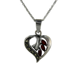 Sterling Silver Birth Crystal Marcasite Heart Pendant Necklace, January Red