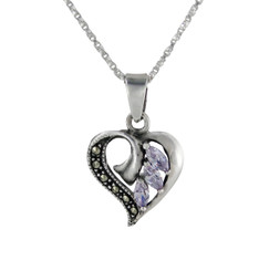 Sterling Silver Birth Crystal Marcasite Heart Pendant Necklace, Lavender