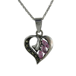 Sterling Silver Birth Crystal Marcasite Heart Pendant Necklace, Pink