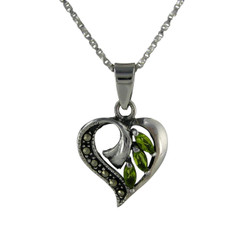 Sterling Silver Birth Crystal Marcasite Heart Pendant Necklace, August Green
