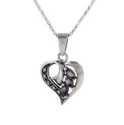 Sterling Silver Birth Crystal Marcasite Heart Pendant Necklace, Purple