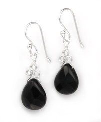 "Sterling Silver ""Crowne"" Briolette Crystal Drop Earrings, Black"