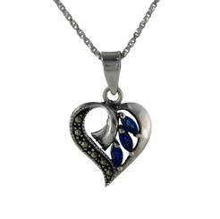 Sterling Silver Birth Crystal Marcasite Heart Pendant Necklace, September Blue