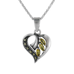 Sterling Silver Birth Crystal Marcasite Heart Pendant Necklace, November Yellow