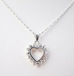 Clear Cubic Zirconia Heart Sterling Silver Necklace