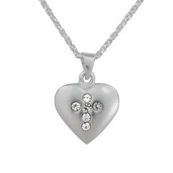 Sterling Silver Matte Finish Heart With Crystal Cross Necklace