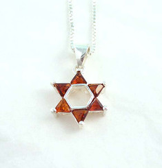 Star of David Sterling Silver and Crystal Necklace, Red