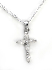 Sterling Silver Sparkling Marquise Crystals Cross Charm Figaro Chain