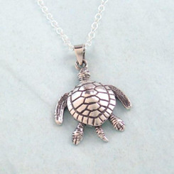 Sterling Silver Large Movable Sea Turtle Necklace