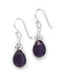 "Sterling Silver ""Crowne"" Briolette Gemstone Drop Earrings, Amethyst"