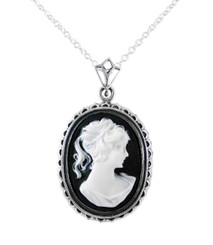 Sterling Silver Royal Cameo Necklace, Black