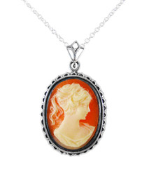 Sterling Silver Royal Cameo Necklace, Coral