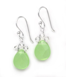 "Sterling Silver ""Crowne"" Briolette Crystal Drop Earrings, Apple Green"