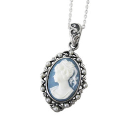 Pearl Framed Cameo Necklace, Blue