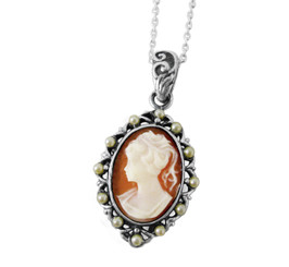 Pearl Framed Cameo Necklace, Coral